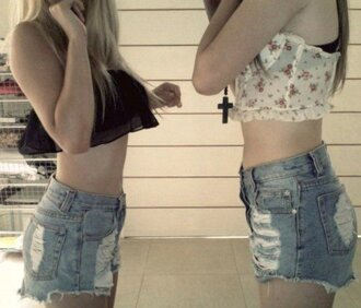 blouse clothes crop tops flowers black top high waisted shorts