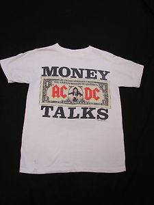 VTG 90s AC DC Money Talks Rock Band Distressed Trashed Concert Tour T Shirt | eBay