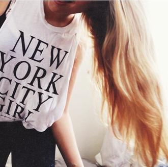t-shirt new york girly white clothes women style summer tank top new york city girl new york city