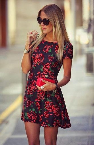 dress red navy roses rose roses print dress floral floral dress cute dress cute stylish style pretty short dress flowers