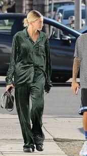 top,hailey baldwin,stripes,pants,blouse,model off-duty,streetstyle,pajama pants