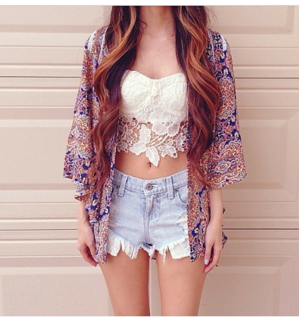 shirt lace crop tops cute cardigan