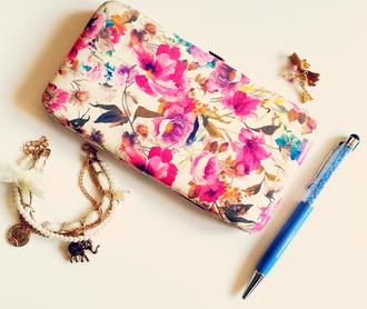 bag wallet floral flowers roses pink flowers pink spring girly