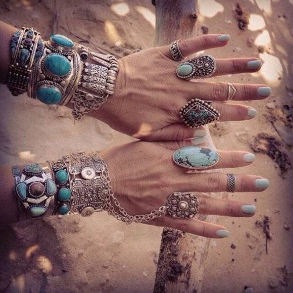 boho jewels bracelets ring gemstone silver turquoise