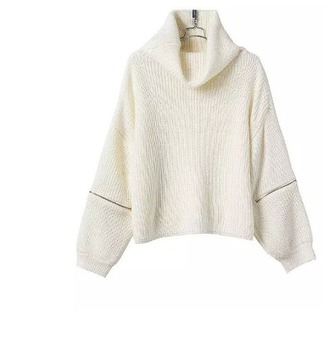 sweater girl girly girly wishlist cream white zip knit knitted sweater turtleneck turtleneck sweater fall sweater