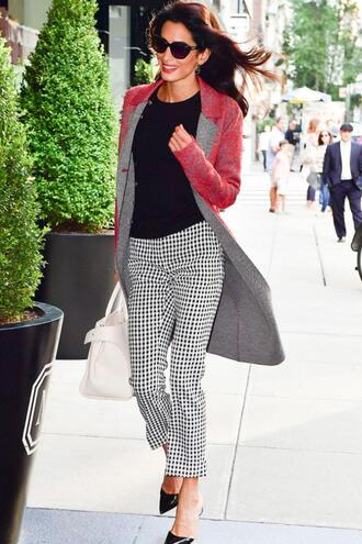 coat pants work outfits amal clooney top fall outfits pumps bag