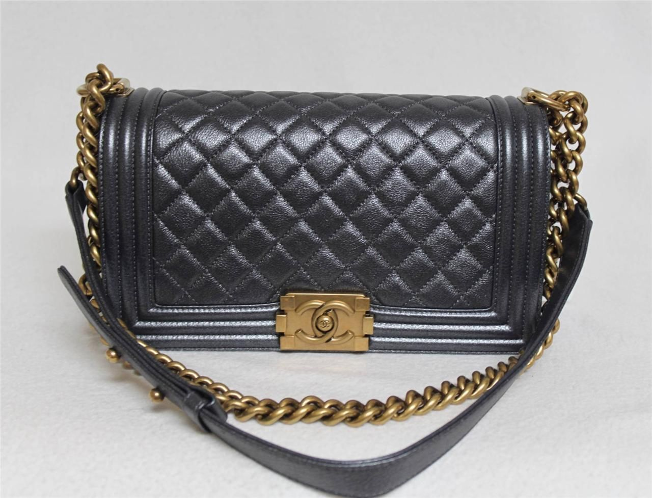 New chanel old medium le boy metallic charcol dk grey leather gold hardware bag