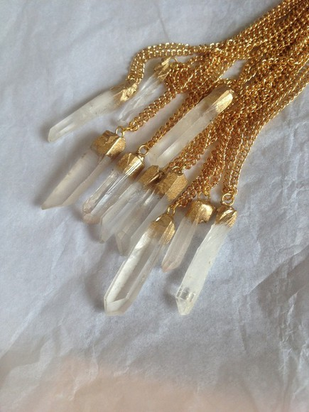 jewels quartz crystal quartz necklace chain 2.5 cm hand made painted natural raw gold plated crystal quartz