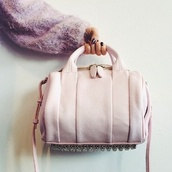 bag,pale,handbag,accessorie,metal,studs,pastel pink,pastel bag,urban pastel pink,gold,purse,pink,light pink,silver