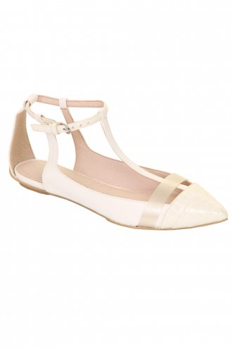 White Snakeskin T Bar Ballet Pump