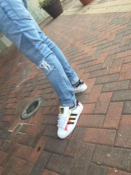 cf136f2cf0c4 shoes adidas multicolor paint splash