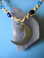 jewels,moon,blue,stars,hippie,necklace,jewelry