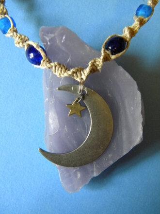 jewels moon blue stars hippie necklace jewelry