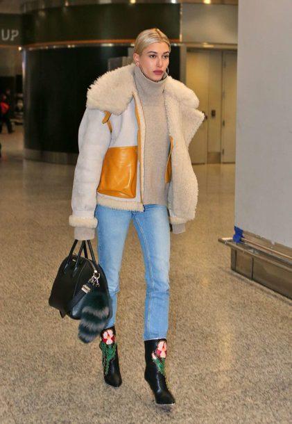 jacket turtleneck winter jacket hailey baldwin model off-duty turtleneck sweater jeans boots denim shoes