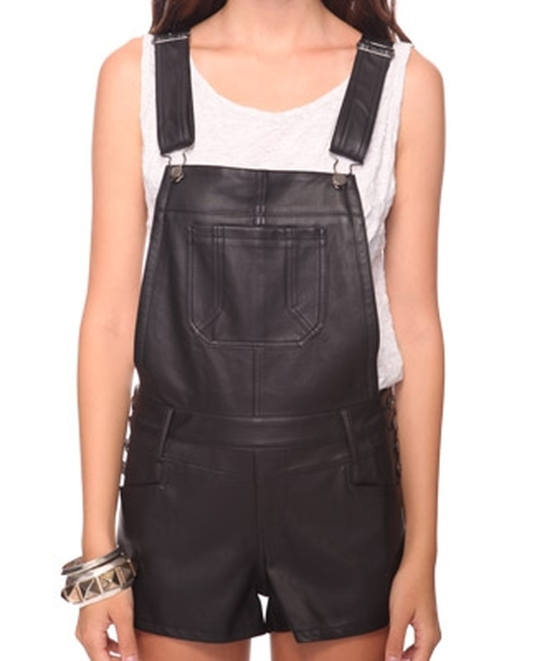 Forever 21 Leatherette Pleather Pants Shortalls 49% Off   Tradesy