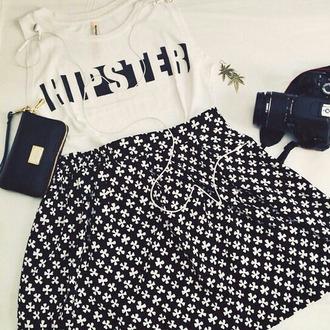 top hipster top blanc shirt trefle jupe skirt hipster pochette fleurs noir&blanc noir blanco