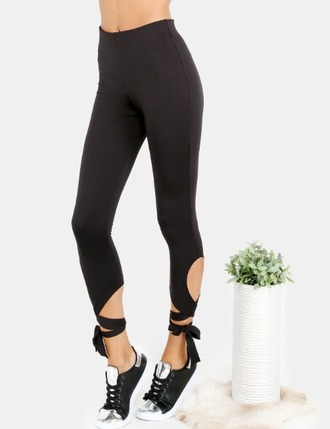 leggings black tights lace up high waisted