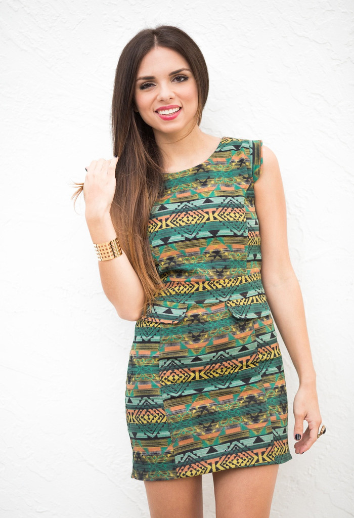 GREEN TRIBAL DRESS – SHOP MY KLOZET