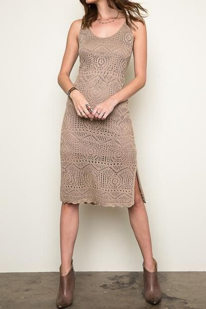 dress Midi summer knit dress knitted dress midi dress nude dress boots  brown boots summer dress 5e24ad630