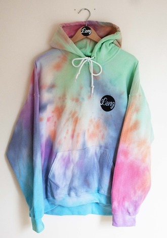 hoodie tie dye oversized bright colorful 90s style trippy shirt