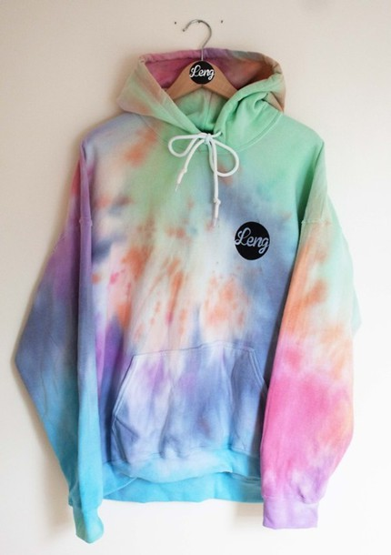 Sweater: hoodie, tie dye, oversized, bright, colorful, 90s style ...