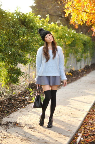 hapa time blogger socks pom pom beanie fuzzy sweater light blue necklace grey skirt knee high socks winter outfits hat jewels sweater skirt shoes bag