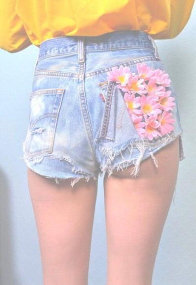 pink flowers denim High waisted shorts