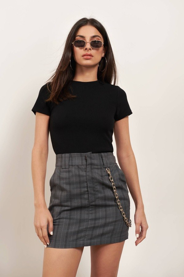 Without A Cause Grey Multi Plaid Bodycon Skirt