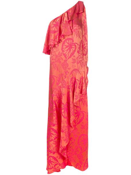 Temperley London dress ruffle dress ruffle women spandex silk yellow orange