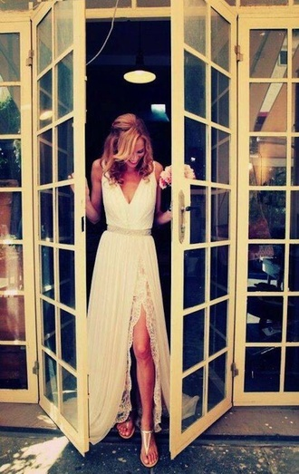 goddess dress greek goddess wedding dress lace v neck white sparkle