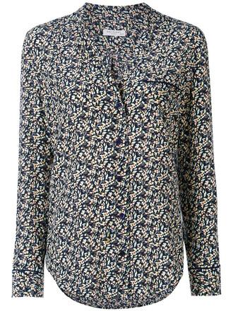 shirt women floral print silk top