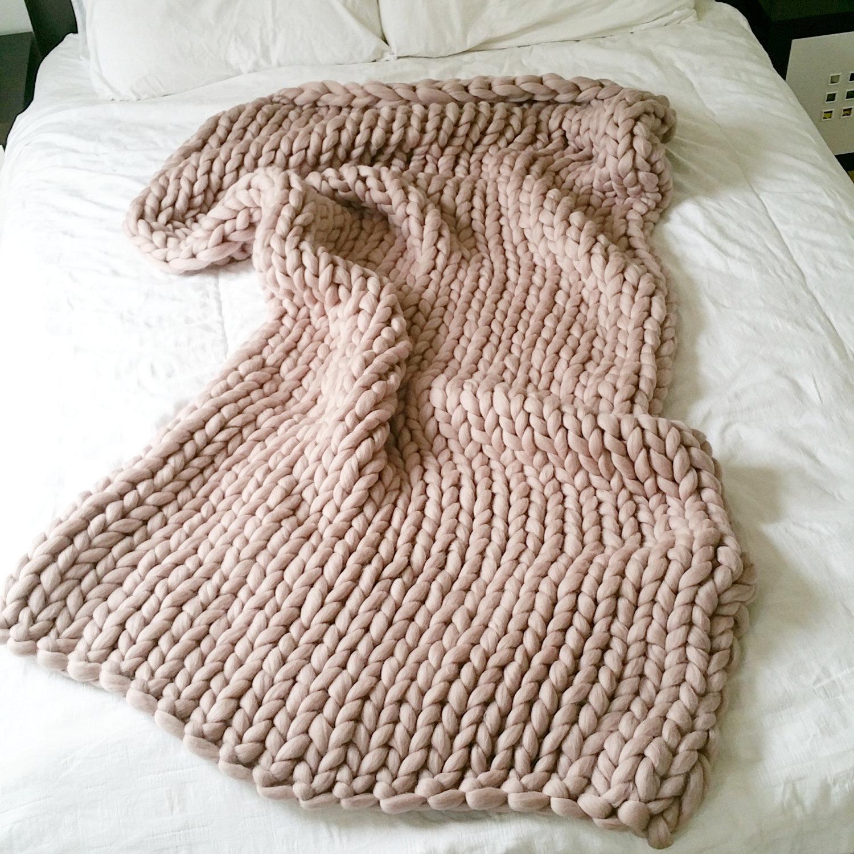 Giant Knitting Needles For Sale Uk : Pink chunky knit blanket giant throw merino wool extreme
