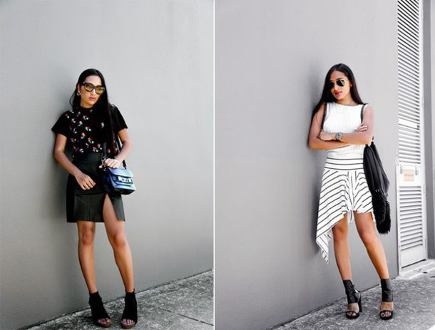 inside in inside out blogger peep toe striped skirt black skirt summer outfits top skirt shoes bag sunglasses jewels