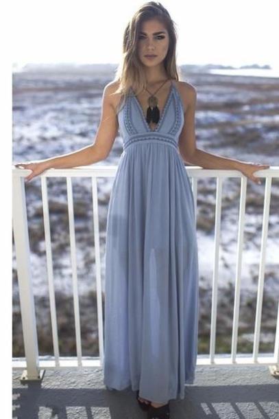 dress blue maxi