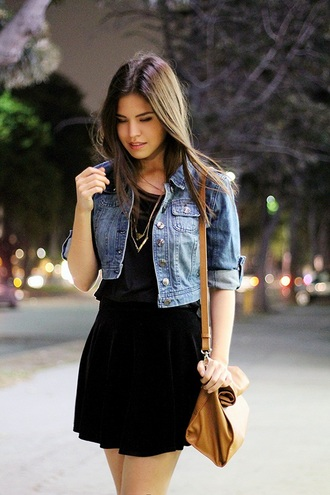 jacket black dress gold necklace short denim jacket brown bag blogger