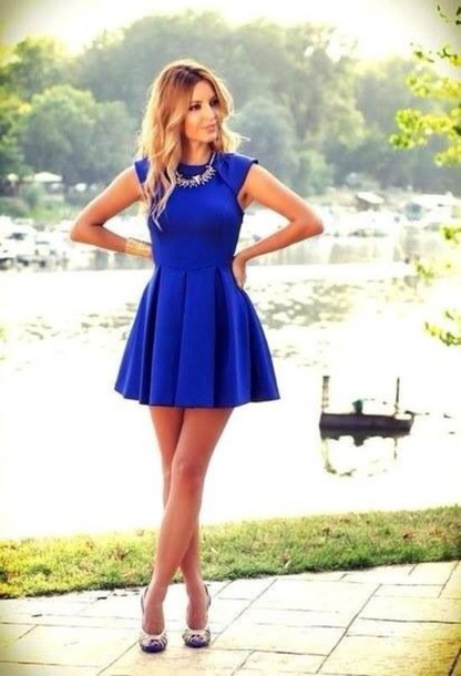 Dress: jewels shoes holiday dress date outfit cobalt blue ...