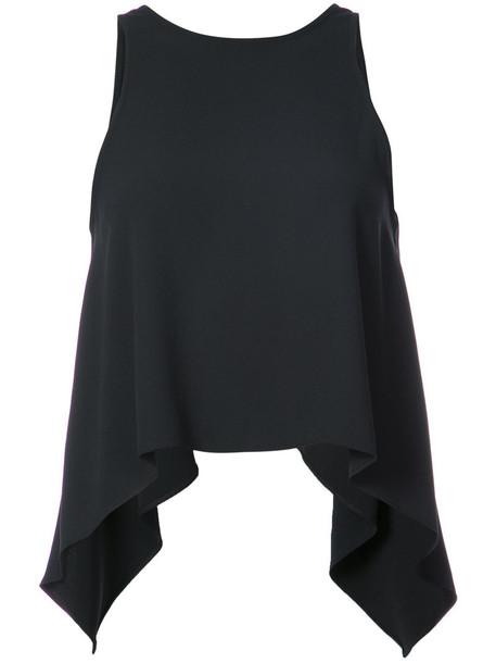 Iro - curved hem tank top - women - Polyester - 36, Black, Polyester
