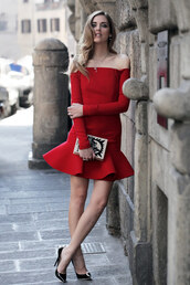the blonde salad,shoes,dress,bag,red dress,off the shoulder dress,olympia le-tan