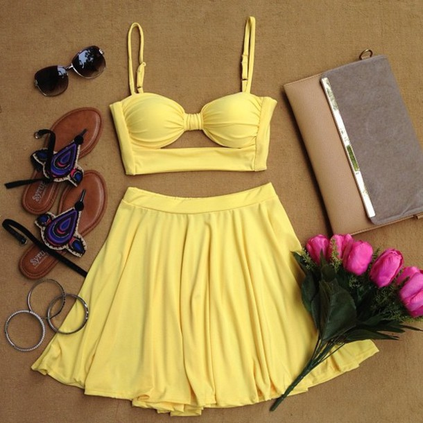 dress yellow dress skirt two-piece cute dress lovely girlie cute top yellow tank top skater skirt shirt yellow top yellow skirt sexy summer dress summer outfits crop tops bottoms outfit popular style two piece dress set two-piece spaghetti straps dress spaghetti strap tops spaghetti strap high waisted colorful
