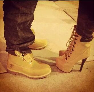 shoes boots heels camel fashion sexy ankle boots couple timberland heels beige timberlands
