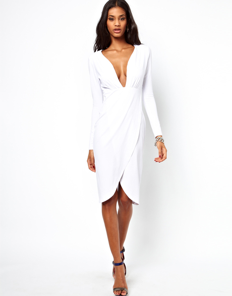 0bfcde0f0a0424 Asos Deep Plunge Midi Dress in White | Lyst