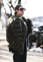 jacket,nyfw 2017,fashion week 2017,fashion week,streetstyle,puffer jacket,army green jacket,sunglasses,aviator sunglasses,pants,black pants,down jacket