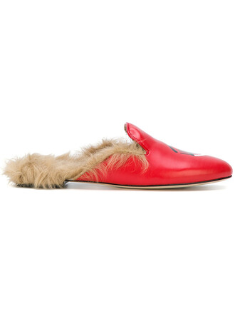 fur women slippers leather red shoes
