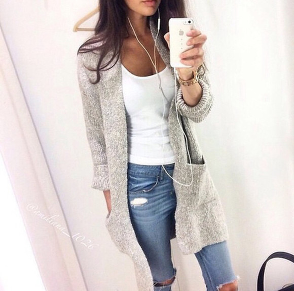 denim jeans cardigan ripped jeans grey cardigan fall outfits white singlet large cardigan