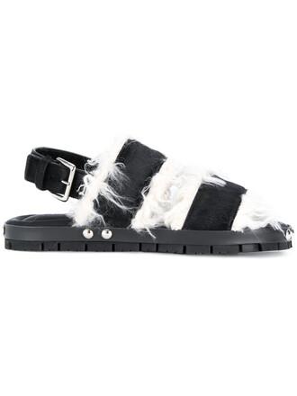 hair fur faux fur women sandals black shoes