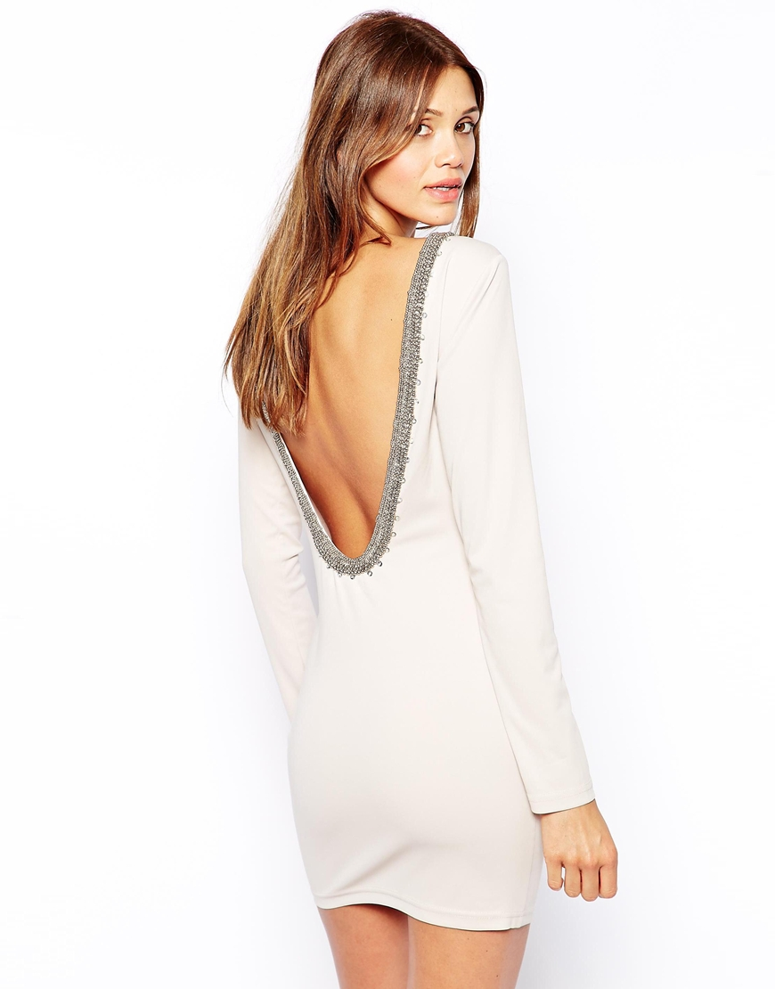 True Decadence Bodycon Dress with Embellished Low Back at asos.com