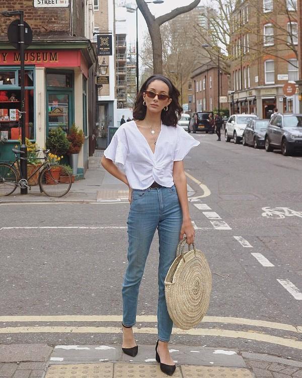 jeans denim bag round bag basket bag shirt white shirt black pumps sunglasses