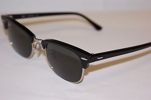 ray ban clubmaster sunglasses black and silver  rayban sunglasses clubmaster 2156 black and silver 49mm eye 901 authentic