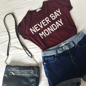 t-shirt,funny,ihatemondays,yes,cute,swag,bored,shorts,blackpurses,hippie headband,hippie,hippie chic,indie,flowers,flower hair,grunge,hipster,preppy,english,london fashion,soft grunge,spring,vintage