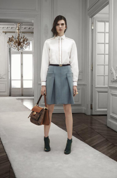 fashion lookbook chloé skirt bag shirt